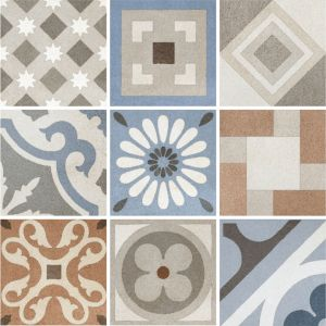 Encaustic Nostalgia Alloy Decorative Cement Collection Porcelain Tile Matt 20 x 20cm, 10mm thickness