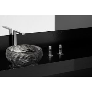 GLO Ball crystal Ramada clear / chrome Countertop wash basin (chrome waste and ring basement included)