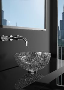 Ice Round Clear Countertop wash basin (chrome waste and ring basement included)
